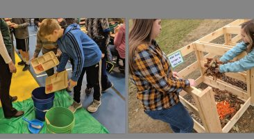 students place food in composting buckets and place it in a composter.