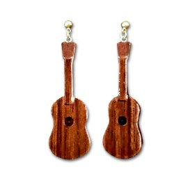 E223_Koa Ukulele Dangle Earrings