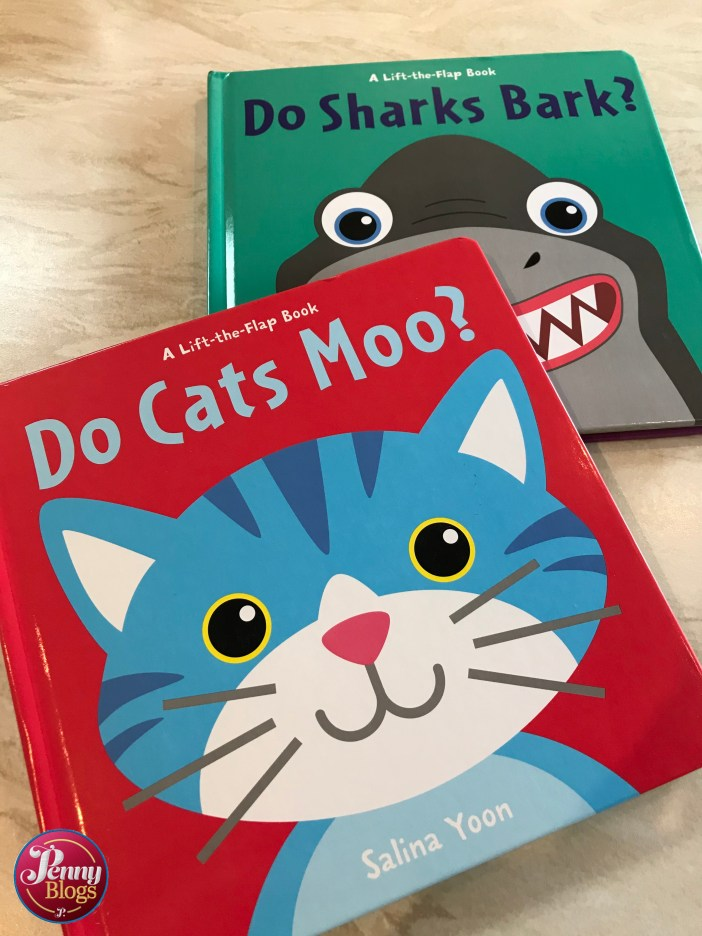 The covers of the books Do Cats Moo? and Do Sharks Bark? by Salina Yoon