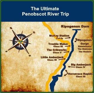 Ultimate Penobscot River Rafting Map
