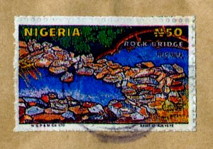 Nigeria forged postal stamp used on cover sent to San Jose, CA.