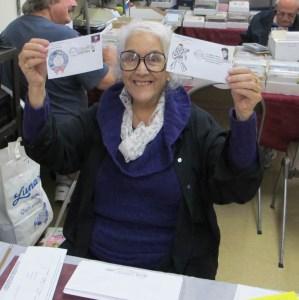 Miriam Thrustaon holding her PENPEX Cachets