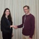 June - Club President Craig Butterworth greets new member Jessica Rodriguex