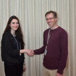June - Club President Craig Butterworth greets new member Jessica Rodriguex