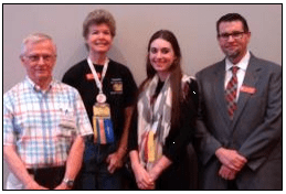 Sequoia Stamp Club members at the APS StampShow in Portland. From left: John Corwin, Kristin Patterson, Jessica Rodriguex, and Scott English.