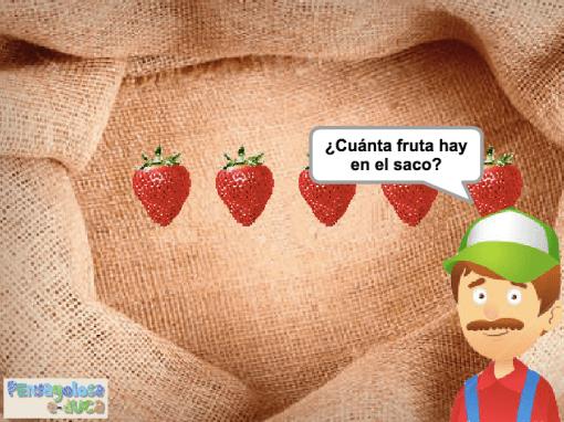 ¿Cuánta fruta hay en el saco? (1-5)