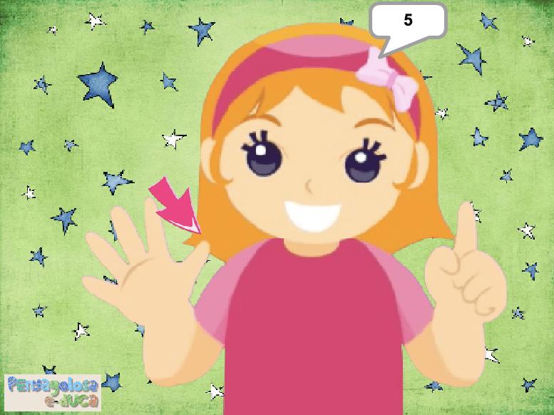 Cuenta con la niña los dedos de las dos manos (1-10)