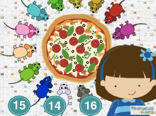 ¿Cuántos ratones están comiendo pizza? (10-15)