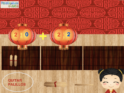 Suma dos cantidades arrastrando palillos chinos (10-50)