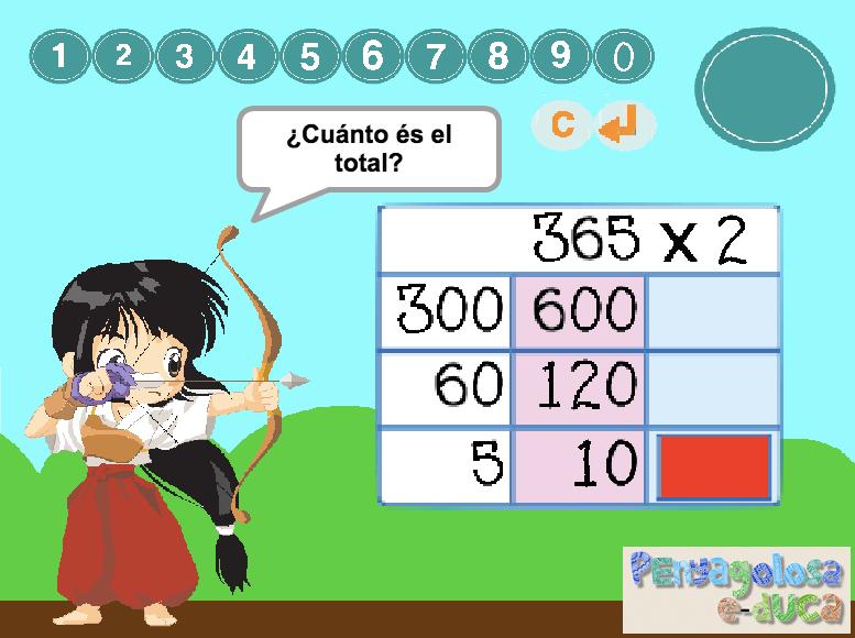 Multiplicar por 2 en la diana (3 cifras con rejilla)