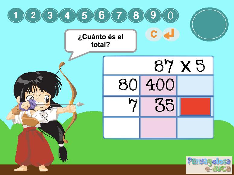 Multiplicar por 5 en la diana (3 cifras con rejilla)