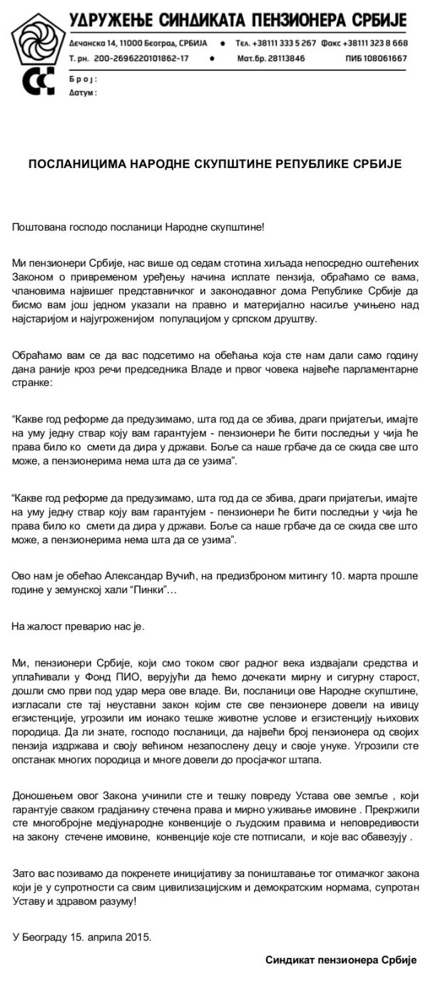 pismo penzioneri poslanici skupstina