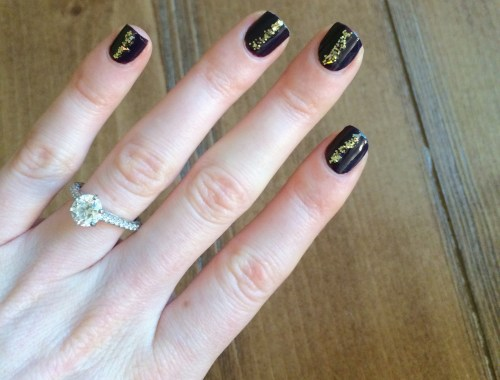 Dark Essie Nails with a Sparkle