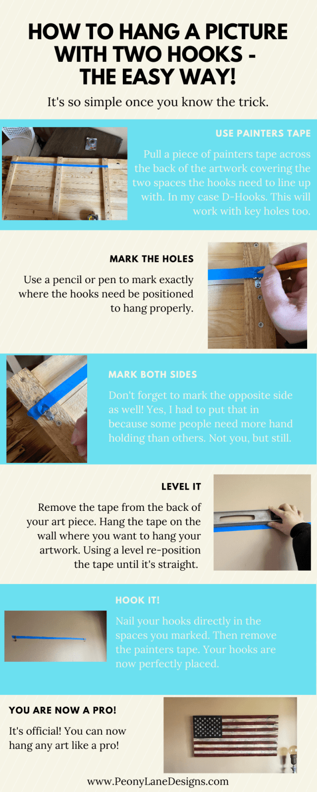 How to Hang a Picture with Two Hooks // Hang a Picture with Two Hooks // easy picture hanging ideas // picture hanging hack // hanging picture hacks // how to hang heavy picture // tricks to hanging pictures // picture hanging tips