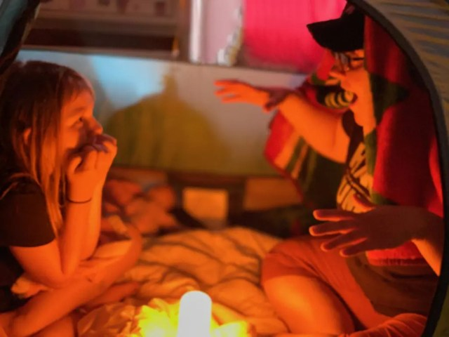 living room campfire