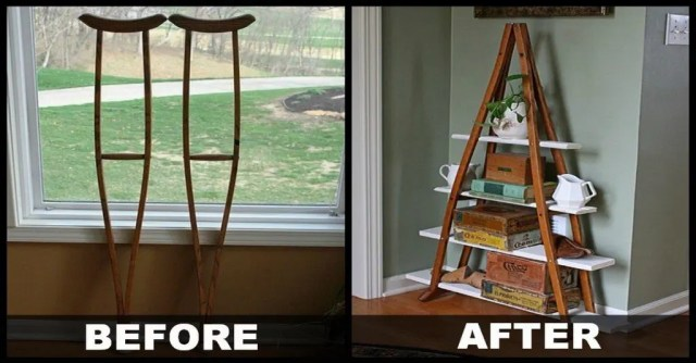 upcycled crutch shelf