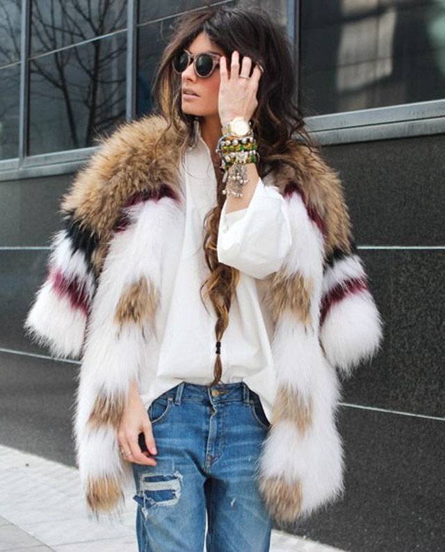 MULTI COLORED FAUX FUR COATS