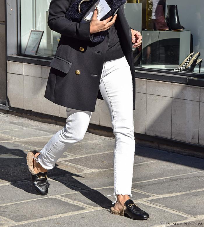 Paris style autumn, Gucci Kangaroo-Fur-Lined Slippers, street style, Paris Fashion Week, wear white pants and long navy blazer