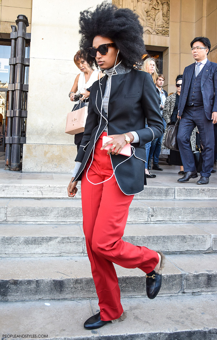 Gucci Kangaroo-Fur-Lined Slippers, street style, Paris Fashion Week, Julia Sarr-Jamois, red pants