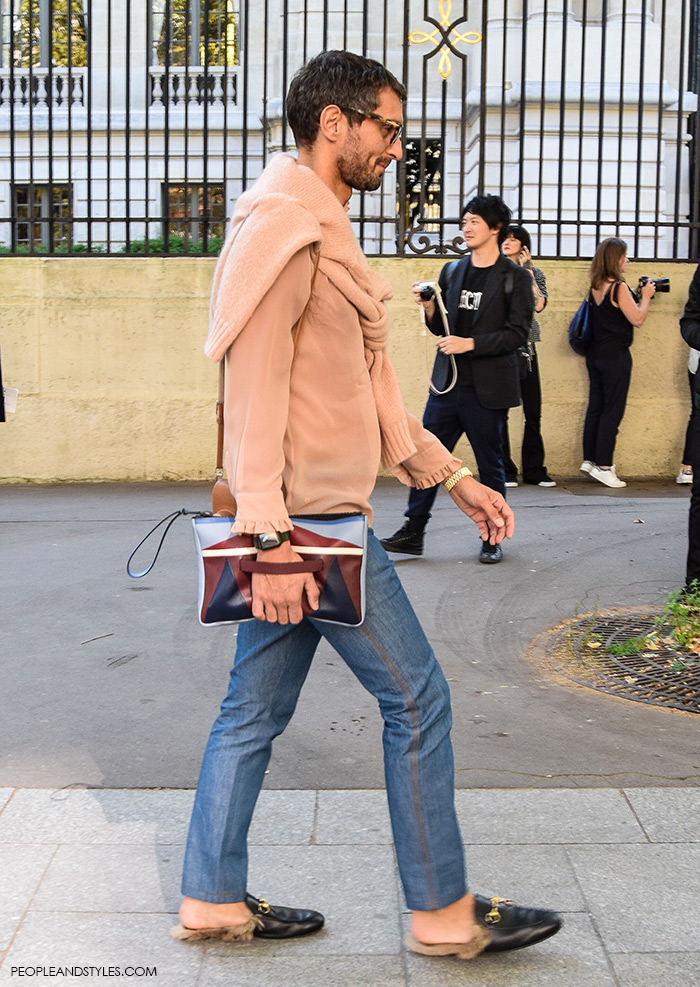 simone marchetti, men's street style, Paris style autumn, Gucci Kangaroo-Fur-Lined Slippers, street style, Paris Fashion Week, wear jeans, rose-quartz shirt and Gucci slippers