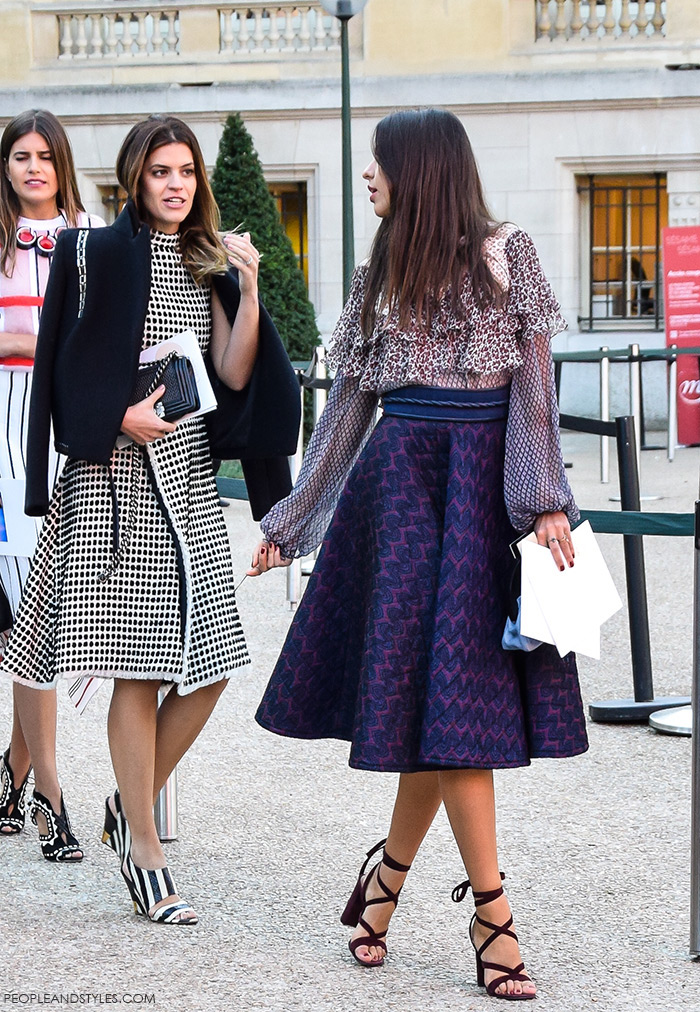 ladylike outfits, Brazilian fashion bloggers, How to wear elegant ladylike midi dress, street style outfit from Paris Fashion Week SS'16 at Chloé Prêt-à-porter by People & Styles