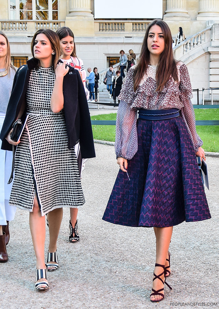 ladylike outfits, Brazilian fashion bloggers, How to wear elegant ladylike midi skirt and ruffled top, street style outfit from Paris Fashion Week SS'16 at Chloé Prêt-à-porter by People & Style