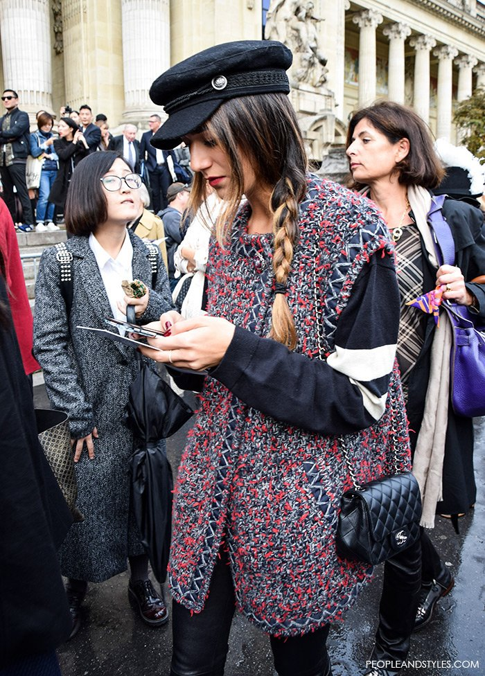 People and Styles, How to wear baker boy hat and sleeveless coat, street style fashion, Paris Fashion Week, Chanel