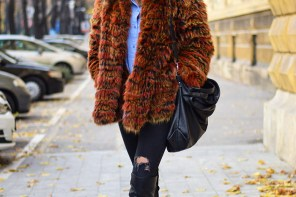 stylish street style look with multicoloured faux fur coat by PeopleandStyles.com