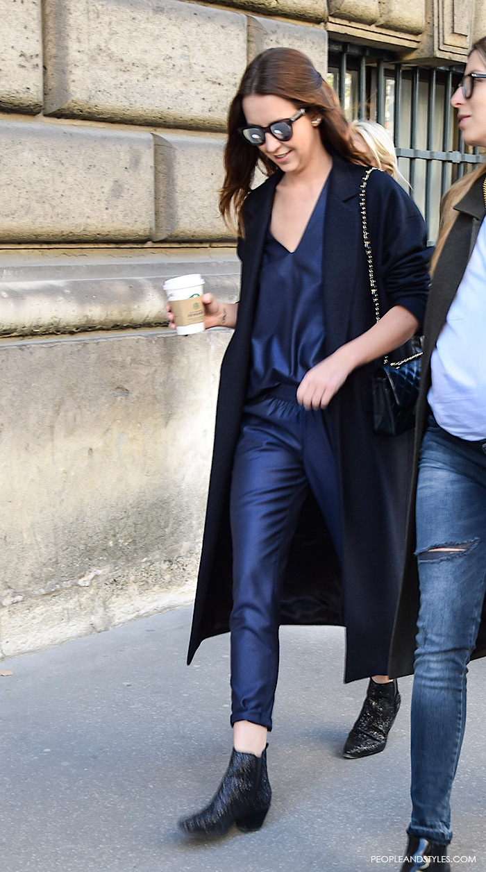 a very fashionable street style look from Paris with a navy jumpsuit