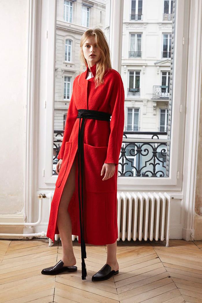 Maje Grenat red oversized wool coat
