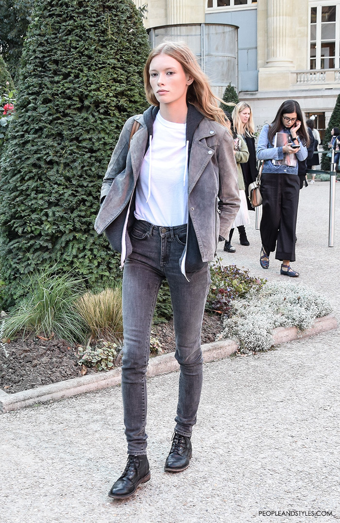 Get model off duty look Julia Hafstrom street style look with grey biker jacket and dark grey jeans