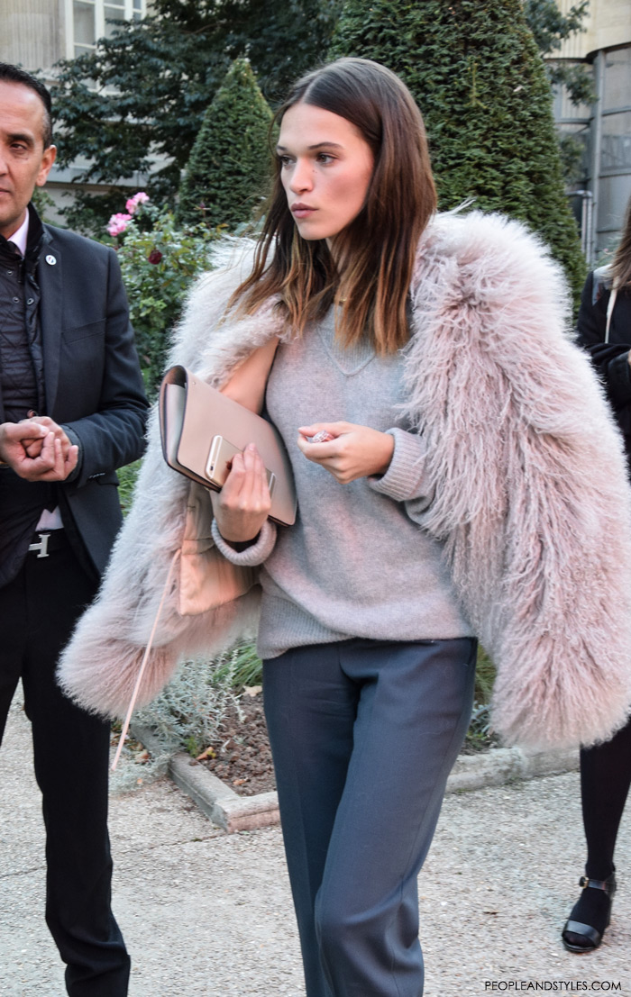 fashion grey on grey outfit styled with pink fur jacket, Paris street style outfit, Chloe Spring/Summer aftershow