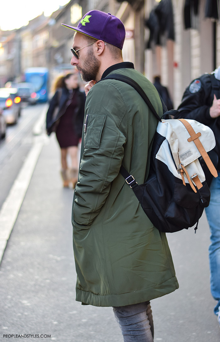 Men's fashion, how to wear bomber jacket, sneakers, backpack and stripped shirt, street style casula outfit inspiration