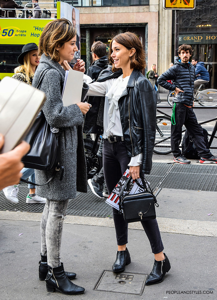 Paris street style Parisien chic, how to wear biker jacket and frilled white shirt