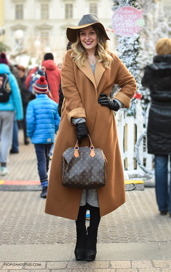 Chic Street Look: Camel Coat and Fedora Hat – Fashion ... Stylish Cool Girl With Hat