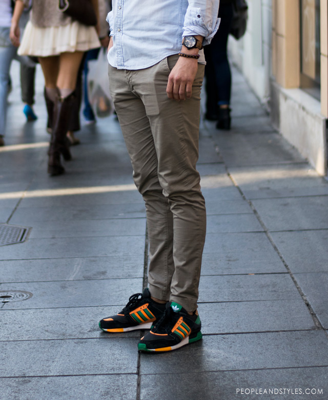 men adidas outfits, Men's Fashion: men casual style - how to wear chinos, light color denim shirt and Adidas sneakers guy's cute street style look, latest best outfits for guys