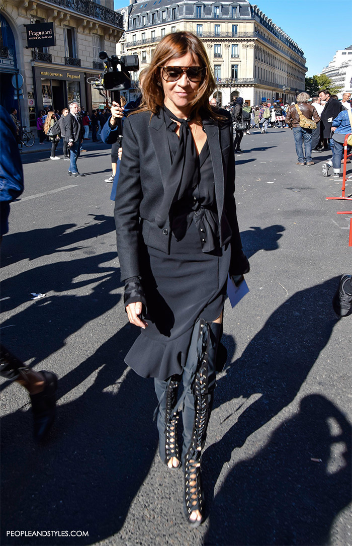 Carrine Roitfeld street style Paris wearing side slit skirt and over the knee boots