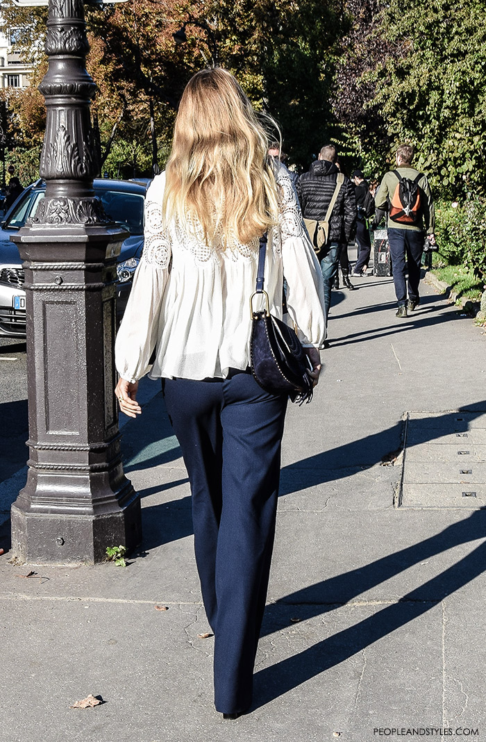 Fashion web, fashion designs, fashion design, fashion styling, fashion websites, Mix wide leg trousers with lacy blouse, Women's fashion, wear-to-work outfits, street style Paris