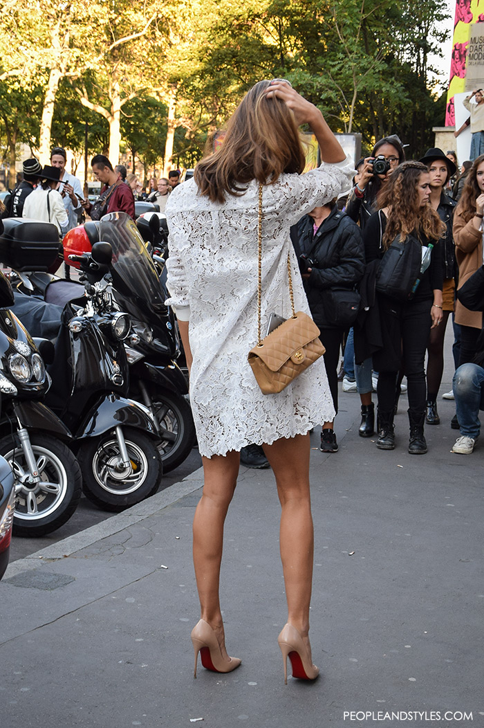 Street style Paris perfect pair how to wear mini white lace dress and neutral pumps pictures Pinterest women's fashion Paris fashion week peopleandstyles