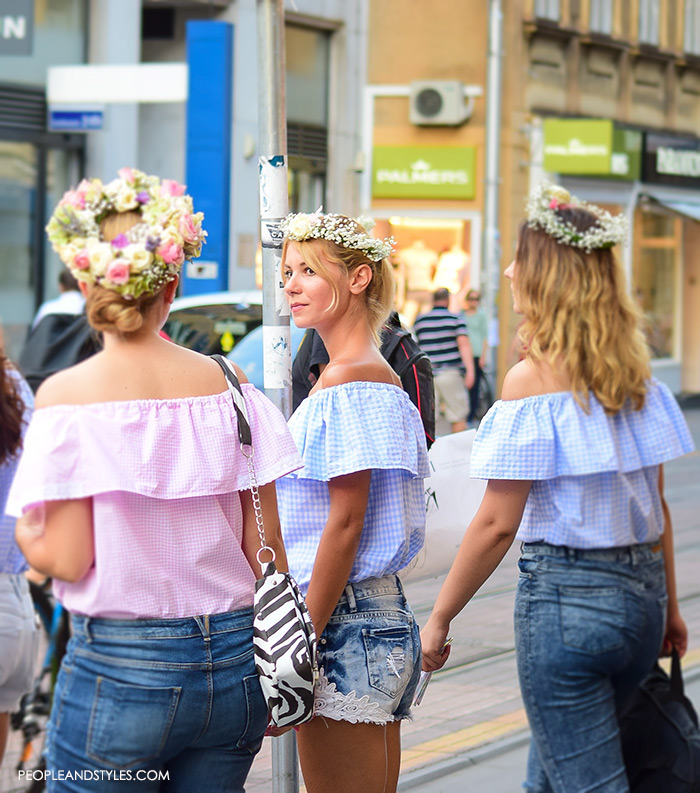 off shoulder womens street style, summer best street style outfits for girls, Adorable street style look off the shoulder top and flower garland, women's summer fashion, images, Pinterest