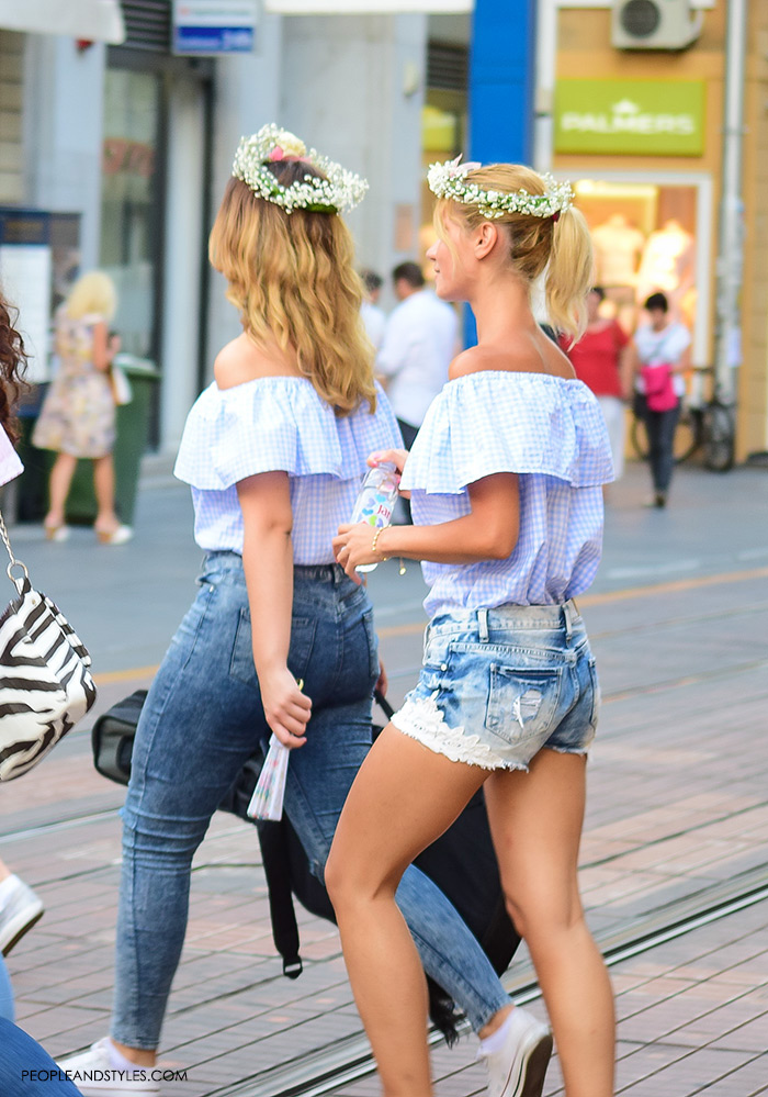 off shoulder womens street style, off shoulder womens street style, summer best street style outfits for girls, Adorable street style look off the shoulder top and flower garland, women's summer fashion, images, Pinterest