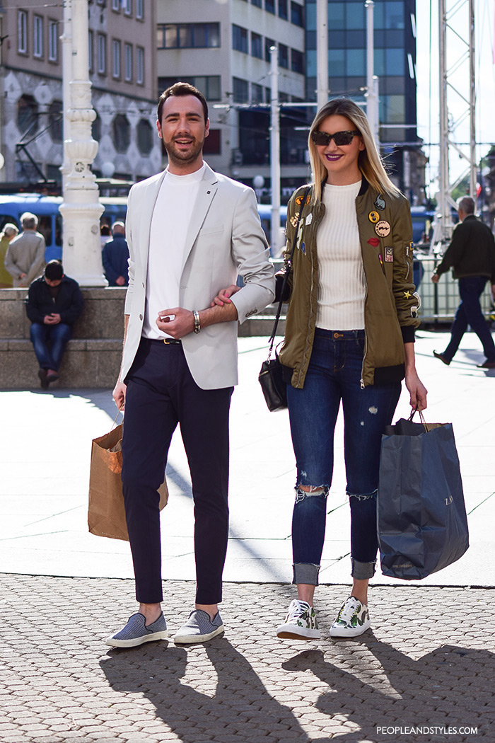 Street style summer 2016, couples street fashion, mens's fashion wear white blazer, chinos and slip-on sneaskers