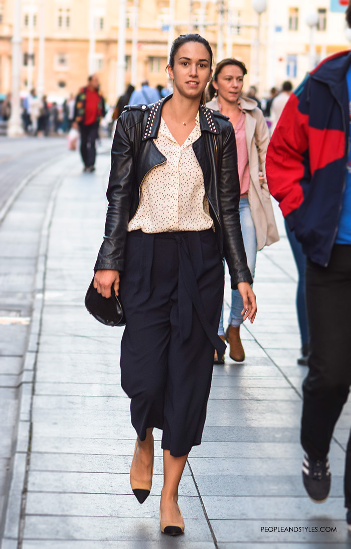 Navy culottes paired with a button down shirt, granny slingbacks » and a biker jacket