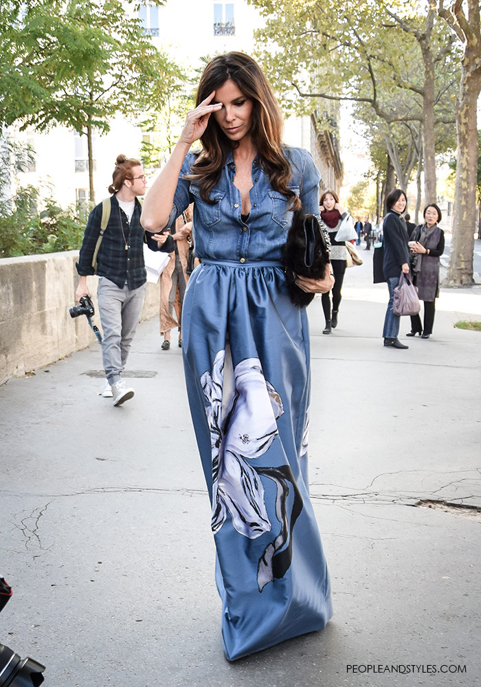 Stylish Pair: Lux Maxi Skirt and a Denim Shirt on Christina Pitanguy
