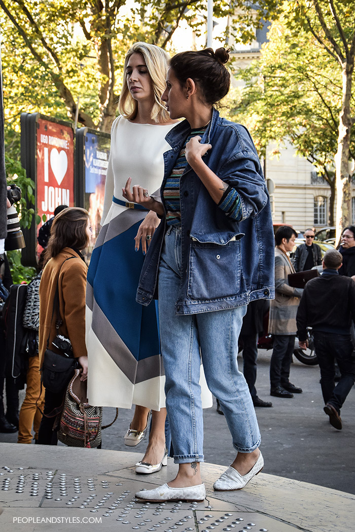 How to wear denim jacket, Paris Fashion Week street style women's fashion look