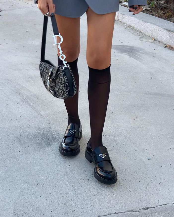 how to wear Prada chunky loafers how to wear platform loafers