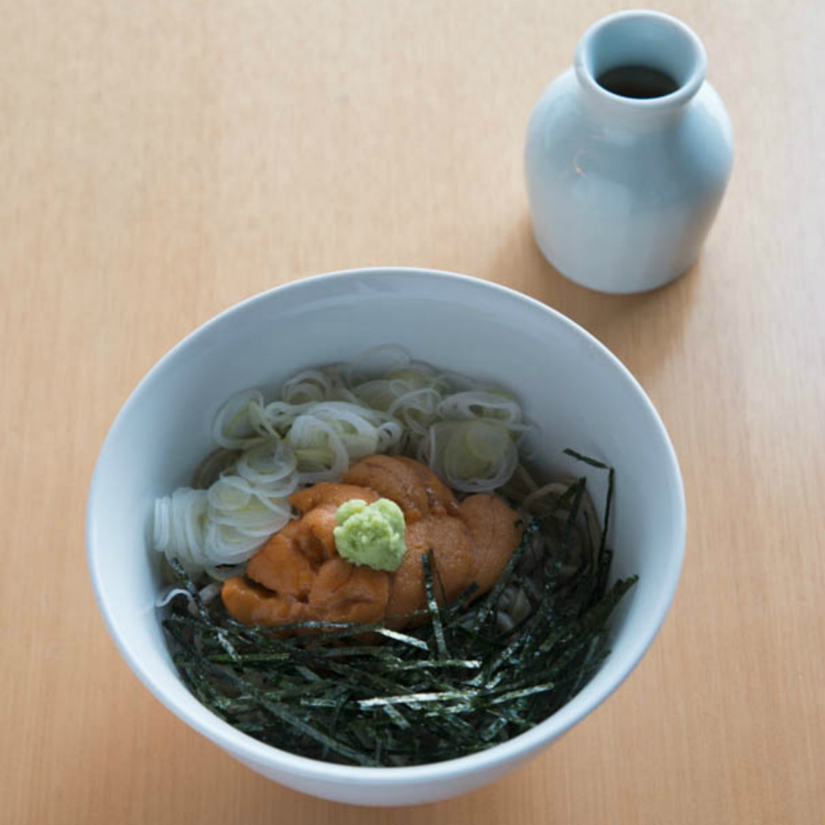 Family-recipe soba noodles, served with New York flair