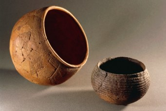 Pottery from the Corded Ware culture of Northern Europe.