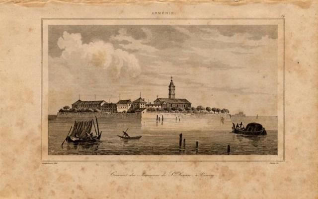Print of Armenian Monastery at Venice in Italy 1838