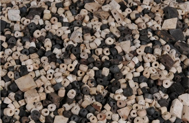 Tens of thousands of beads made of mountain crystal and other types of stones were recovered.